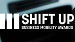 drie witte verticale strepen met daarnaast Shift up Business Mobility Awards